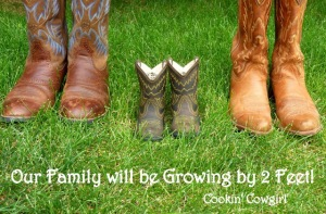 Our family will be growing by 2 feet pregnancy announcement cowboy boots