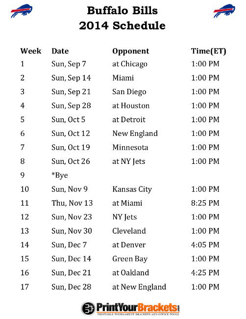 graphic regarding Buffalo Bills Printable Schedule titled NY Soccer 2014 Celebration Designs