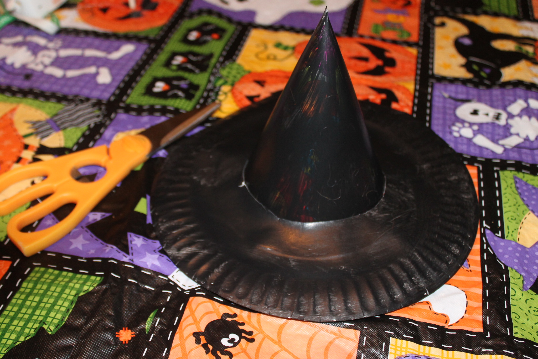 Taking your double sided tape put at least four pieces along the edge where the party hat and paper plate meet. Then take a pipe cleaner any color your ... & Witch Hat Craft | momeefriendsli