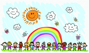 happy children holding hands, spring,summer nature doodle cartoon illustration