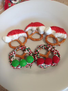 pretzel wreaths and santa hats