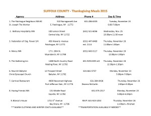 thanksgiving meals- suffolk county