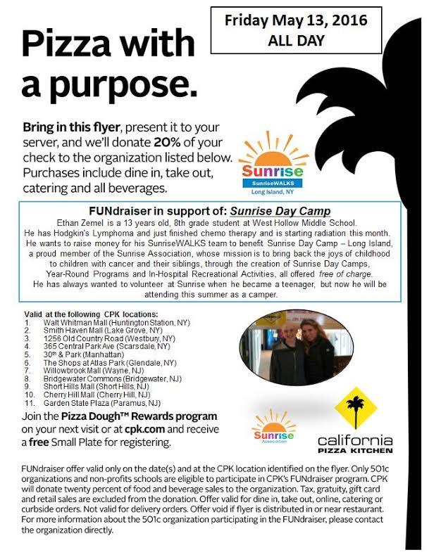 California Pizza Kitchen Hawaii Fundraiser