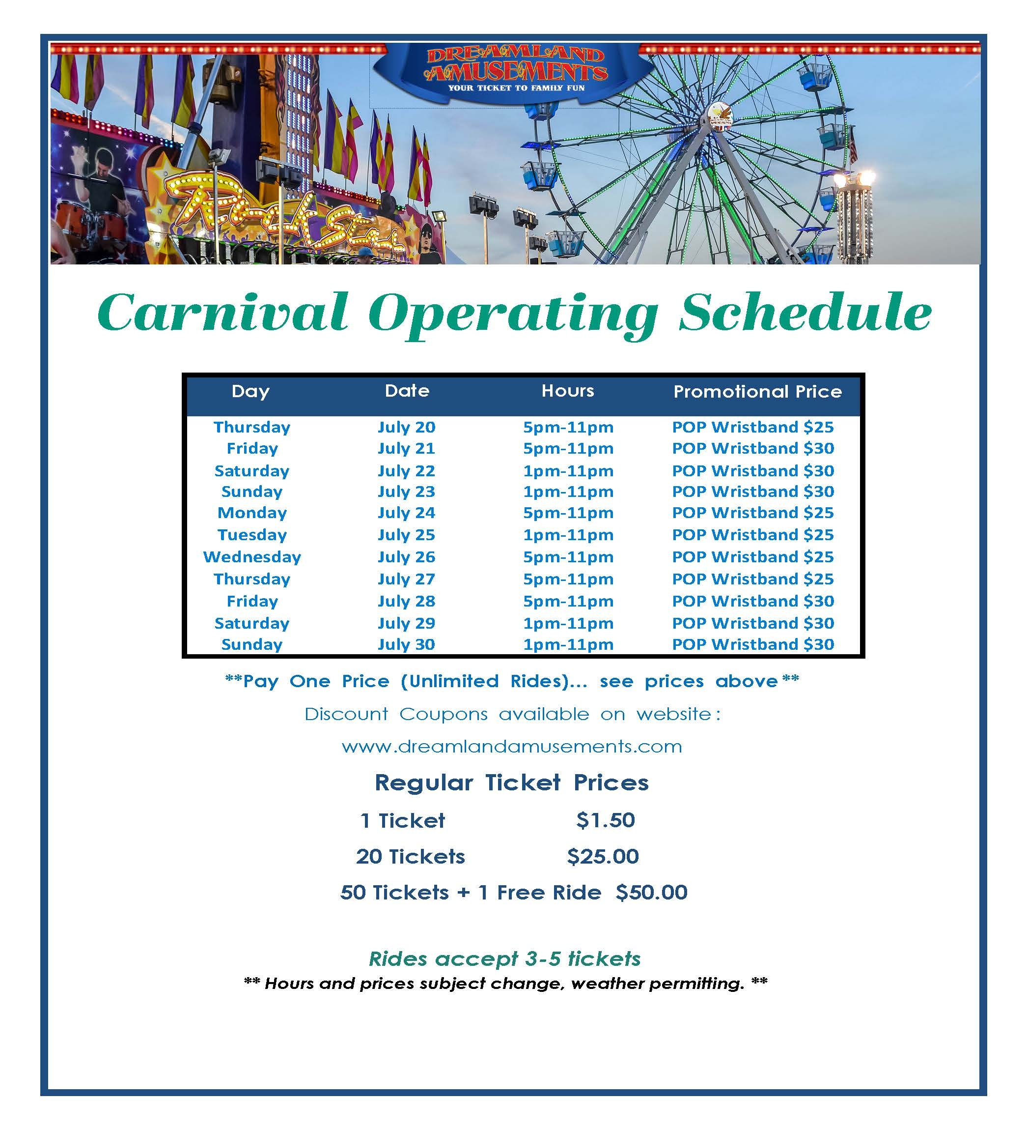 Broadway Mall Carnival- July 20th to 29th, 2017