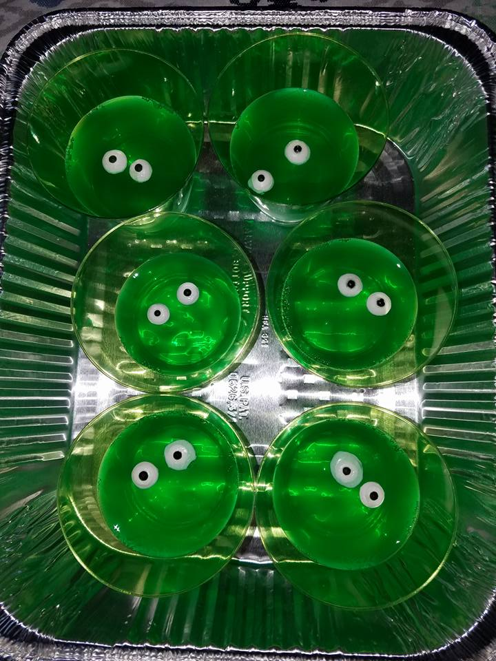 Blobby Is An Easy Snack To Interpret Just Make Some Green Jell O And Put It In Clear Cups Add Edible Candy Eyes Simple Fun